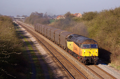 47727 'Rebecca' accelerates past Saxondale with 6E08 06:00 Washwood Heath - Boston Docks steel empties, 28/03/12.