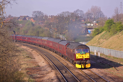 47245 accelerates away from Masbrough North junction with Green Express' 1Z47 06:40 Spondon - Edinburgh. 17/04/10.