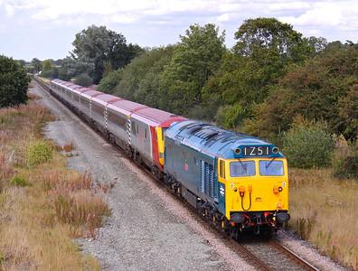 50044 'Exeter' passes Rossett with 1Z51 13:14 Llanrwst North - Euston, 04/09/11.