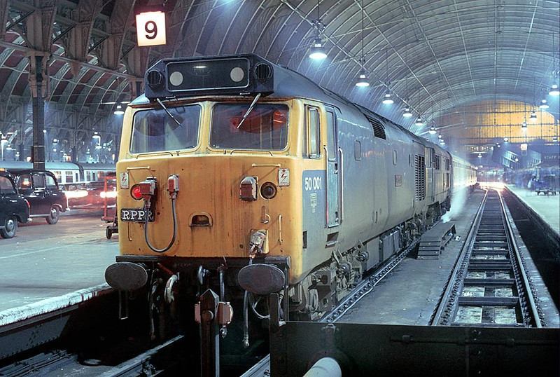 50001/31326 arrived Paddington on 'Crewe Campaigner' Relief Railtour 11th Feb 1979
