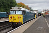 50008 'Thunderer' and 50015 'Valiant' tick over in Bury Bolton Street at 13:28 on Monday 1st October 2018. The 50's were heading to the Severn Valley Railway for their Class 50 Golden Jubilee the following weekend.