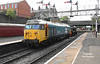 Class 14 D9537 propels 50015 'Valiant' into Bury Bolton Street at 11:07 on October 1st 2018. The class 50 was being transported to the Severn Valley Railway in order to take part in their CLASS 50 GOLDEN JUBILEE event the following weekend.