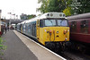 50015 'Valiant' and 50008 'Thunderer' tick over in Bury Bolton Street at 13:28 on Monday 1st October 2018. The 50's were heading to the Severn Valley Railway for their Class 50 Golden Jubilee the following weekend.