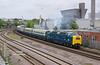 D9009 'Alycidon' passes Hull Royal Infirmary as it departs with Pathfinders' Hull & Leeds Executive on the morning of Saturday 6th May 2017.  Despite the cloud, the matching loco and stock make for a fine sight at a location that  would not have been 'On' in sunlight.<br /> This bridge was frequented on a number of occasions by Yours Truly in the early 80s',  just as the Deltics reign was coming to an end, and unfortunately before I had the means to record such things on film .