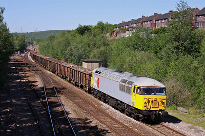 56311 makes a great sight as it heads South past Treeton with 6Z56 13:45 Shipley, Crossley Evans - Cardiff Tidal loaded scrap metal, 25/05/12.  25*C.