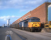 56045 stands on 10 Quay, Hull King George Dock at 11:30 on Saturday 25th January 1998 with its train of Russell's Coal Containers forming the 6Z80 Hull - Swansea Burrows.