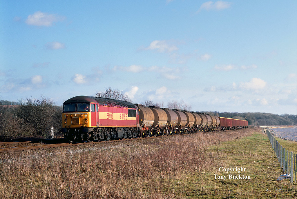 Although I didn't know it at the time, my last opportunity to photograph a booked working from Saltend came on Tuesday 5th February 2002, when 56096 worked the 09:24 Saltend – Healey Mills (6D52). With acetic acid for Mostyn Dock and scrap metal for Liverpool Alexandra Dock, the consist skirts the north bank of the Humber estuary near Ferriby.