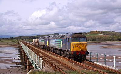 57008 & 57003 rumble across Eskmeals Viaduct with 6K73 (17:18) Sellafield - Crewe flasks, 17/05/12.