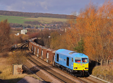 60074 approaches Tapton Junction, Chesterfield with 6Z50 11:50 Toton - Barrow Hill - Toton proving run, dragging mainly loaded seacow ballast wagons, 05/01/12.