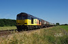 60076 passes Howsham at 15:40 on Tuesday 26th June 2018 with the 12:16 Rectory Junction - Lindsey Oil Refinery.