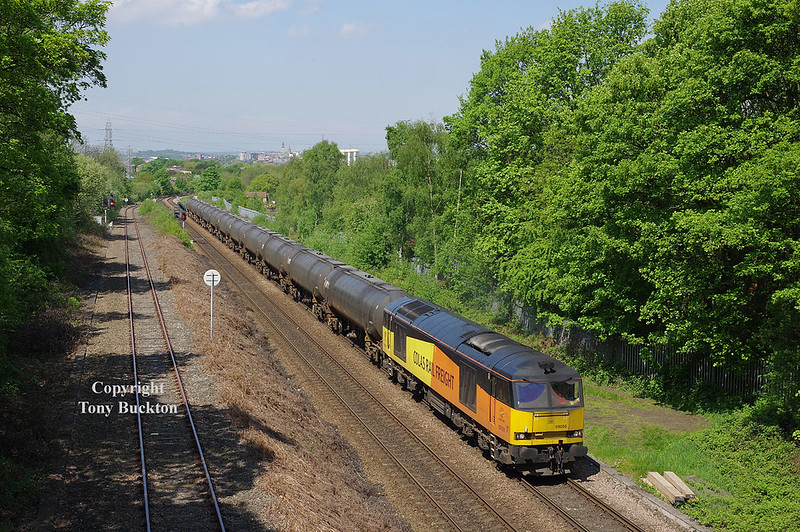 Tuesday 8th May 2018 saw cracking conditions for this shot of 60056 with the 08:55 Colas Ribble Rail - Lindsey Oil Refinery at Oakenshaw Junction .