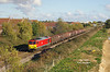 60091 catches some fine Autumn sunshine as it approaches Brough with the 14:51 Hedon Road Sidings - Masborough steel hoods on Thursday 18th October 2018.