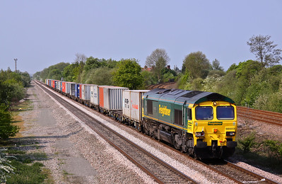 66503 'The RAILWAY MAGAZINE' passes North Stafford Junction with the diverted 4L90 07:11 Lawley Street - Felixstowe. 30/04/11.