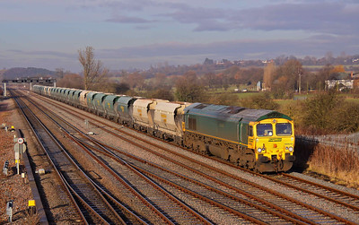 66612, devoid of bodyside logo, passes Trowell Junction with 6M85 11:49 Tunstead - Ratcliffe Power Station limestone. 06/01/11.