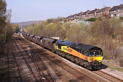 66849 passes Treeton North with 6M86 Wolsingham - Ratcliffe Power Station loaded coal, on 29/03/12.