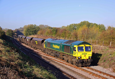 66957 at Clarborough Junction with 6E84 18:21 Hunterston - Cottam Power Station loaded caol. 15/10/11.