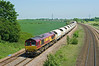 66114 passes Burton Salmon at 12:26 on Monday 28th May 2012, with Empty Tarmac hoppers from Redcar - Rylstone.
