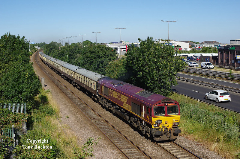 66140 and 66133 top and tailed Pathfinders' 'The Trent Ouse Docker' on Saturday 30th June 2018, and is seen passing Hessle Haven at 17:38 with the returning 16:55 departure from Hedon Road Sidings (Hull King George Dock ) - Westbury.