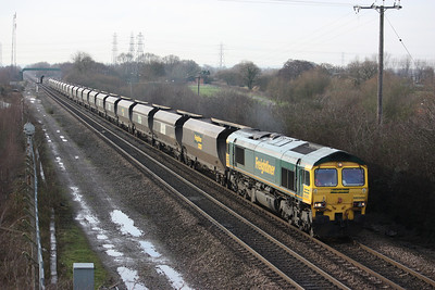 66509 passes Stenson Junction working Rugeley PS - Barrow Hill coal empties 10/1/14