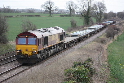 66060 passes Elford with 6D44 Bescot - Toton 20/3/14