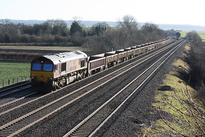 66119 passes Cholsey working an Eastleigh - Stud Farm service 14/1/14