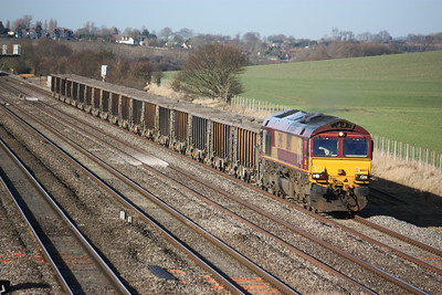 66143 approaches Cholsey working a Clavert  - Bow service 14/1/14