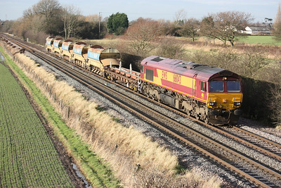 66043 passes Barrow Upon Soar with a Bescot - Toton departmental working 10/1/14