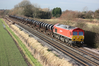 66185 passes Barrow Upon Soar working Margam - Corby steel coils 10/1/14