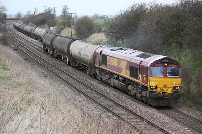 66053 pulls out of Elford loop with 6M57 0715 Lindsey - Kingsbury 20/3/14