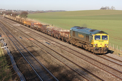 66507 approaches Cholsey working a Didcot - Eastleigh departmental service 14/1/14