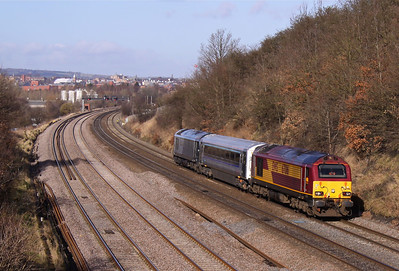 67016 sweeps past Hasland with 5Z01 Doncaster - Banbury, 15/02/13.