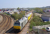 67012 leads the 10:28 Doncaster West Yard - Derby RTC Network Rail test train into Lincoln at 13:34 on Tuesday 21st April 2015. 67018 brings up the rear.