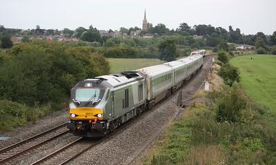 68012 passes Kings Sutton with 1K57 1715 London Marylebone  Kidderminster 18/8/15