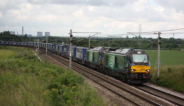 68005 & 68021 Redbank, 4S43 0640 Daventry - Mossend 25/6/16