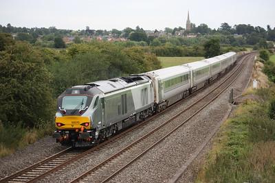 68010 passes Kings Sutton pushing the 1H69 1555 Birmingham Moor Street - London Marylebone 18/8/15