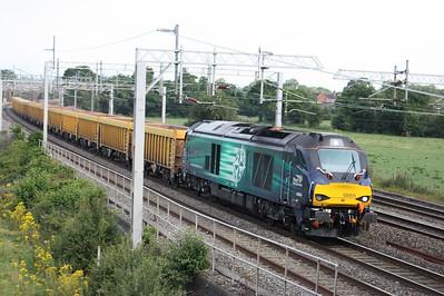 68004 'Rapid' passes Slindon with 6U76 0859 Crewe Basford Hall - Mountsorrel 18/8/15
