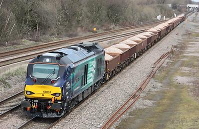 68001 'Evolution' approaches North Staffs Junction with 6U77 1342 Mountsorrel - Crewe Basford Hall 2/4/15