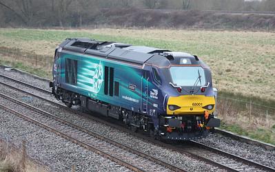68001 'Evolution' passes Stenson Bubble witn 0Z96 1210 Crewe Gresty Bridge - Toton North Yard 3/4/15