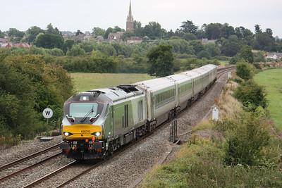 68010 passes Kings Sutton with 1R37 1315 London Marylebone - Birmingham Moor Street 18/8/15