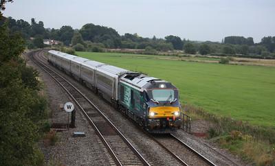 68008 'Avenger' passes Kings Sutton with 1K65 1847 London Marylebone - Kidderminster 18/8/15
