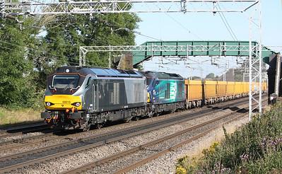 68015 & 68004 'Rapid' pass Chorlton shortly after departing Crewe Basford Hall with 6U76 0859 Crewe Basford Hall - Mountsorrel 19/8/15