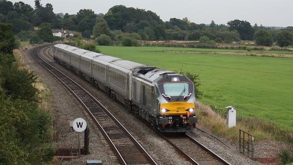68010 passes Kings Sutton with 1K62 1815 London Marylebone - Kidderminster 18/8/15