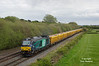 68001 passes Barrow On Trent at 14:30 on Tuesday 3rd May 2016 with the 6Z27 13:42 Mountsorrel Sidings - Crewe Basford Hall loaded ballast.