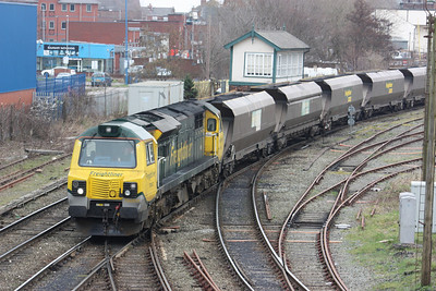 70002 approaches Warrington Arpley with the Ellesmere Port - Fiddlers Ferry 8/3/14