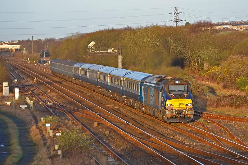 68024 'Centaur' 1Z68 07:07 Carmarthen to Edinburgh at Llandeilo Junction 24/2/17.