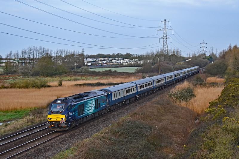68001 'Evolution' 1Z22 0708 Carmarthen to Wishaw at Loughor 8/3/19.