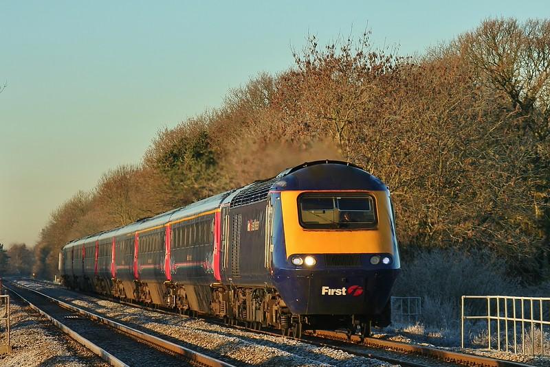 43191 & 43186 08:28 Swansea to London Paddington at Coychurch 20/01/2011.