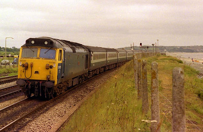 50021 'Rodney' skirts Mounts Bay between Long Rock and Penzance with an express from Paddington in July, 1979.