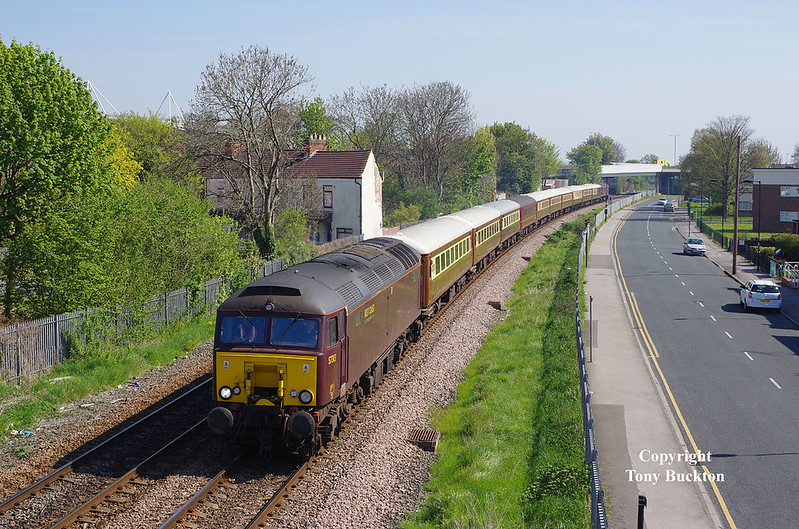 The 10:29 Hull - Carnforth Steamtown E.c.s. passes Selby Street Hull on Sunday 8th May 2016 with 57313 leading and 57315 bringing up the rear.