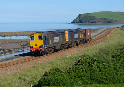 20305 + 20309 haul the Berkeley box south of St Bees 23/6/15.